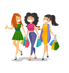 young caucasian white women shopping together vector image