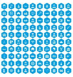 100 job icons set blue vector