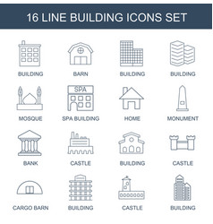 16 building icons vector