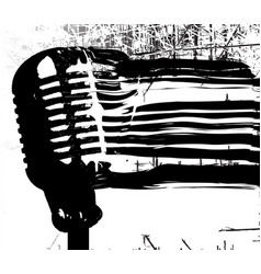 Abstract black microphone breaking up vector