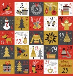 Advent calendar with christmas gold characters vector