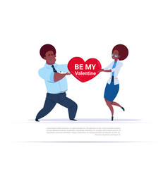 African american couple holding heart shape vector