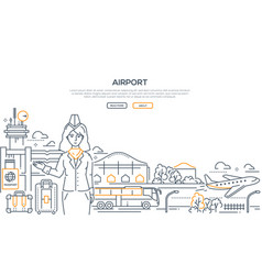 airport - modern line design style vector image