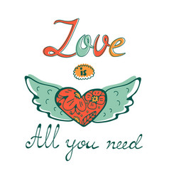 all you need is love concept card with flofal vector image