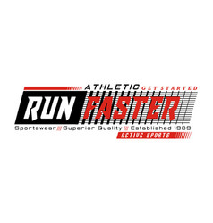 Athletic run faster typography design for t-shirt vector