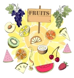 Background with fruit1-02 vector image