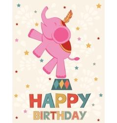 Birthday card with elephant vector