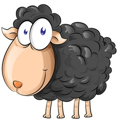 Black sheep cartoon isolate on white background vector