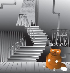 Brown cat at the staircase vector