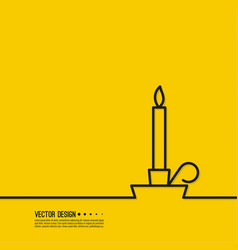 burning candle in a candlestick vector image