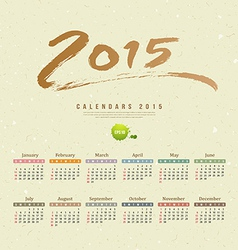 Calendar 2015 text paint brush recycle paper vector