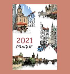 Calendar cover prague czech 2021 year vector