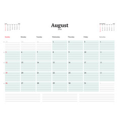 calendar planner template for 2018 year august vector image