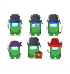Cartoon character among us green with various vector