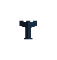 castle letter t logo icon design vector image