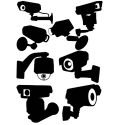 Cctv camera silhouettes vector