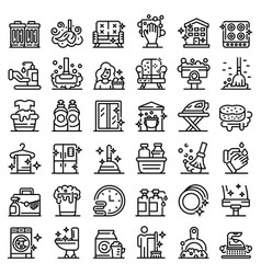 Cleaning services icons set outline style vector