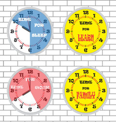 Clock time concept set brick wall vector