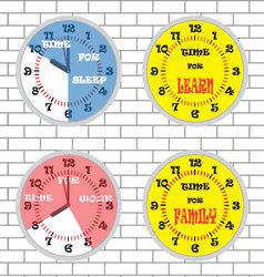 Clock time concept set brick wall vector