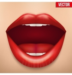 close-up of a female face with clean skin and lips vector image