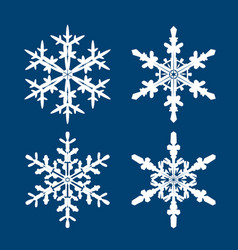 collection white snowflakes on blue background vector image