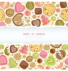 Colorful cookies horizontal torn frame seamless vector