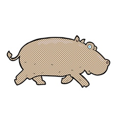 Comic cartoon hippopotamus vector