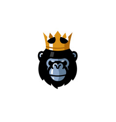 creative king gorilla head logo vector image