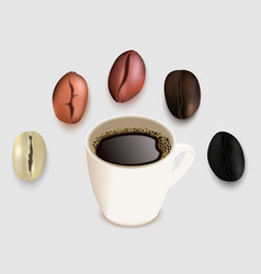 Cup of coffee and coffee beans 3d realistic vector