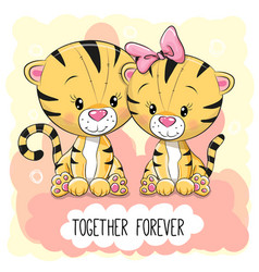 Cute cartoon tigers boy and girl vector