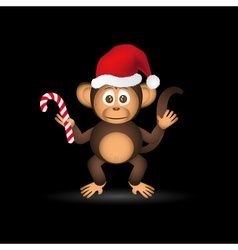 Cute chimpanzee little monkey with santa hat eps10 vector