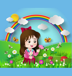 cute girl sitting in a flower garden vector image