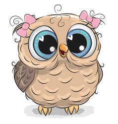 cute owl isolated on a white background vector image vector image