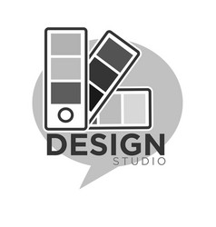 design studio colorless logo label isolated on vector image vector image