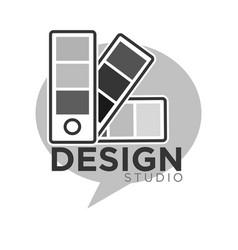 Design studio colorless logo label isolated vector