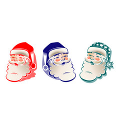 drawing silhouette of head of santa claus set vector image