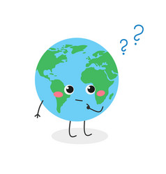 Earth planet cartoon character with question mark vector