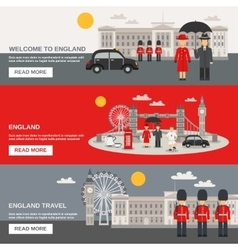 english culture 3 horizontal banners set vector image