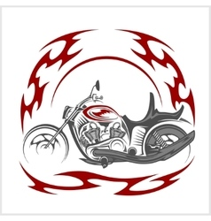 Flaming Bike - Retro Chopper and tribal flame vector