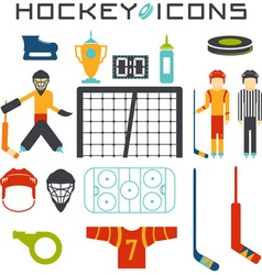 flat design icons of hockey vector image