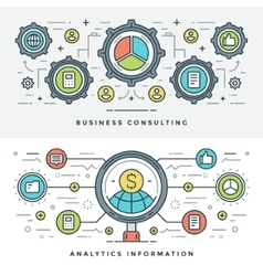 Flat line Business Consulting and Analytics vector image
