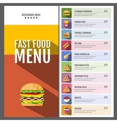 Flat style design of fast food menu vector image