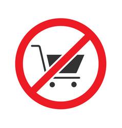 Forbidden sign with shopping cart glyph icon vector