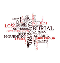 Funeral or burial ceremony word cloud design vector