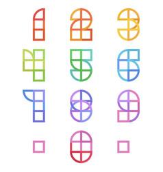 geometric alphabet in flat geometric style vector image
