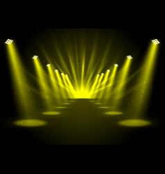 glowing golden spotlights vector image