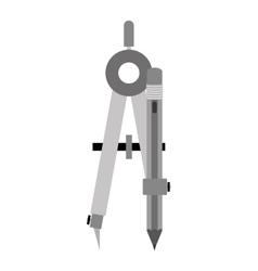 Gray silhouette compass with pencil vector