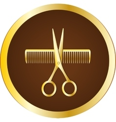 Hairdresser sign with scissors and comb vector
