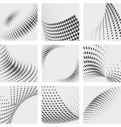 Halftone dots effects backgrounds set dot vector image