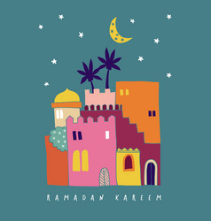 Hand drawn colorful arab houses with moon vector
